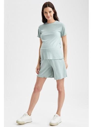 DeFacto Slim Fit Fırfırlı Hamile Şort Yeşil